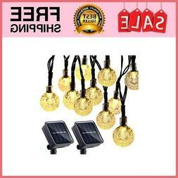2 Pack Globe Solar String Lights 20Ft 30 LED Waterproof 8 Mo