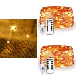 2 Pack LED Fairy String Lights, 66ft 200 LEDs Soft Copper Wi