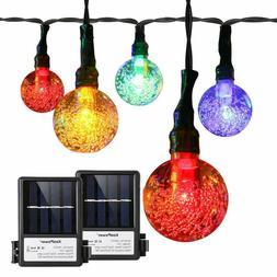 2 Pack Solar Globe Fairy Lights 16 ft 30 LED Crystal Ball St