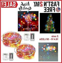 2 Set Christmas LED String Lights Battery 16.4 ft 8 Modes Po