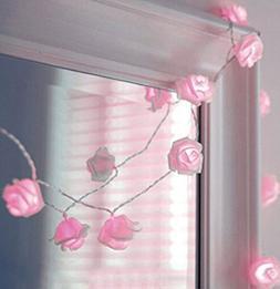 Zking 20 LED Battery Operated String Flower Rose Fairy Light