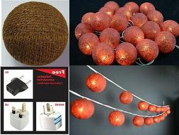 20 Brown cotton ball string lights for Patio,Wedding,Party H