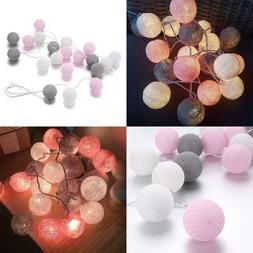 20 Cotton Ball String Fairy Night Lights Kid Bedroom Nursery