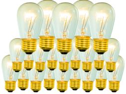 25 Incandescent Edison Light Bulbs - S14 E26/27 11 Watt Repl