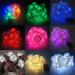 20 LED Battery Operated Rose Flowers String Fairy Lights Par