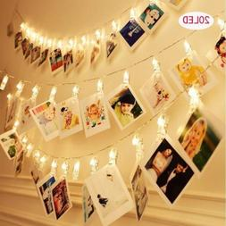 20 LED Clip Card Photo Holder String Fairy Lights Battery Ch