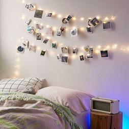 20 LED Photo Clip String Lights with Clips for Bedroom Card
