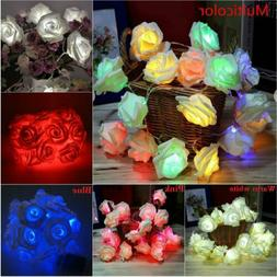 20 LED Rose Flower Fairy Wedding Garden Party Xmas String Li