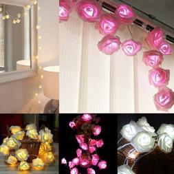 20 LED Rose Flower Xmas String Lights Fairy Wedding Christma