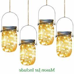 20 LED Solar Mason Jar Lid Lights Chandelier Fairy String Li