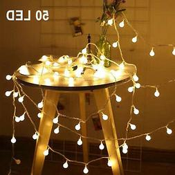 50 LED Ball String Fairy Lights Battery Operated Christmas W
