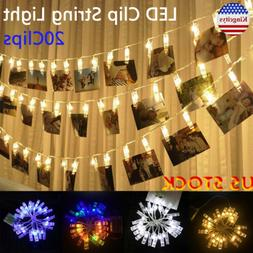 20 LEDs USB String Lights Photo Clip Battery Operated For Ha