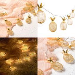 20 Light 10Ft GOLD Wall Decor Metal Pineapple Bedroom Fairy