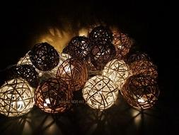 20 Mixed Brown Tones Rattan Ball string lights for Patio,Wed