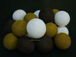 20 Mixed color Brown cotton ball string lights for Patio,Wed