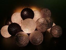 20 Mixed Gray Brown cotton ball string lights for Patio,Wedd