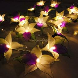 20 Purple Orchid Flower LED String Fairy Lights Floral Home