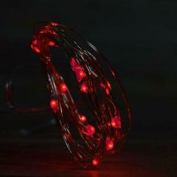 20 Red LED Micro Fairy String Light, Waterproof Wire w/ Time