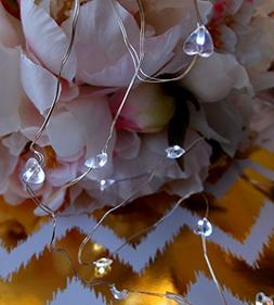 20 White Heart LED Micro Fairy String Lights, Wire