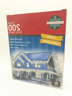 200 Clear/White Wire Icicle String Lights - Indoor/Outdoor 1