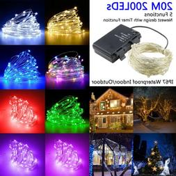 200 LED String Fairy Lights Silver Wire Battery Operated Wat
