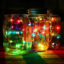 20LED Fairy Light Solar For Mason Jar Lid Insert Color Chang