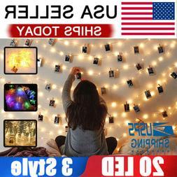 20LED Photo Clips String Lights/Holder Indoor Fairy String L