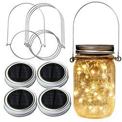Homeleo 4 Pack 20LED Warm White Waterproof Solar Mason Jar L