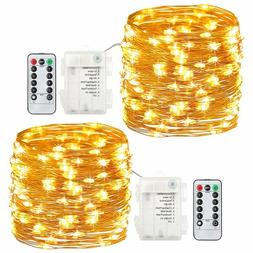 2Pack 20 Feet 60 Led Fairy Lights Battery Operated Remote Co