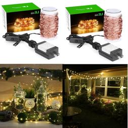 2pcs 20M/65FT 200 LED Copper Wire String Fairy Lights Lamp W