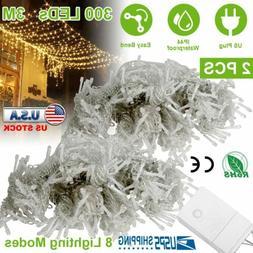 2pcs Warm White 300 LED 3m Fairy Curtain String Lights Weddi
