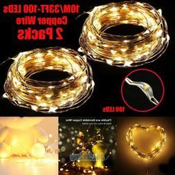 2X 10M/33FT Warm White 100LEDs String Fairy Lights Home Bedr