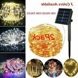 2X Solar Powered String Lights 100/200 LED Copper Wire 72ft