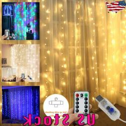 3*3M 300LED USB LED Curtain String Light Wall Wireless Remot