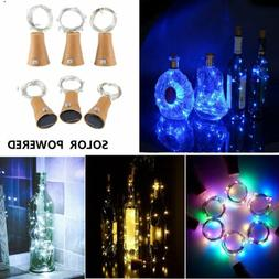 3/6 Pcs 10 LED Solar Wine Bottle Lights Cork Copper Wire Str