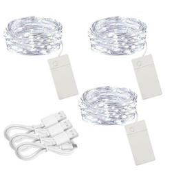 Soltuus 3 Pack Rechargeable 10ft 30 LED String Fairy Lights,