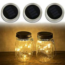 3-Pack Solar Powered Mason Jar Lid 10 LED Fairy String Light