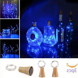 3 Pack Wine Bottle Lights Solar Powered 10 LED Mini Cork Str