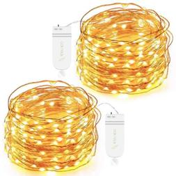 Oak Leaf 30-LED Fairy String Lights, Battery Operated, Warm
