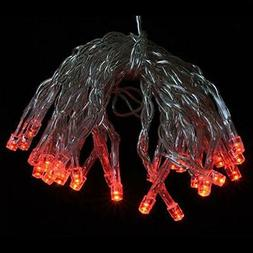 30 LED Red Mini String Lights, 10.8 FT Clear Cord, Battery O
