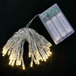 30 LED Warm White Mini String Lights, 10.8 FT Clear Cord, Ba