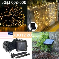 300-500 LED Warm White Solar Fairy String Lights 8 Modes Out