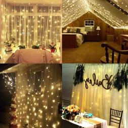 300 LED 3*3M Fairy Curtain String Lights Icicle for Wedding