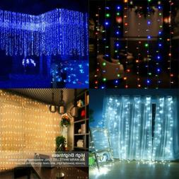 300 LED 8 Modes Curtain Lights Fairy USB String Remote Wall