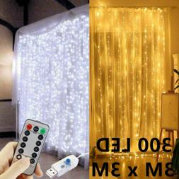 300 LED Curtain Lights String 3m*3m USB Powered Waterproof T
