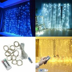 300 LED Fairy String Hanging Curtain Light Outdoor Xmas Part