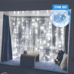 300LED White Wedding Curtain String Lights USB Fairy Lamp wi