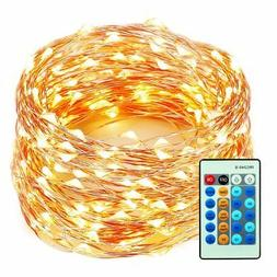 99 Feet 300 LEDs Copper Wire String Lights Dimmable with Rem