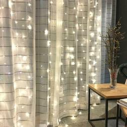 300 window curtain string light