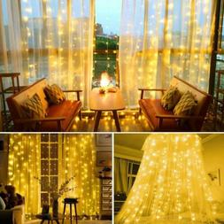 300led 10ft curtain fairy hanging string lights